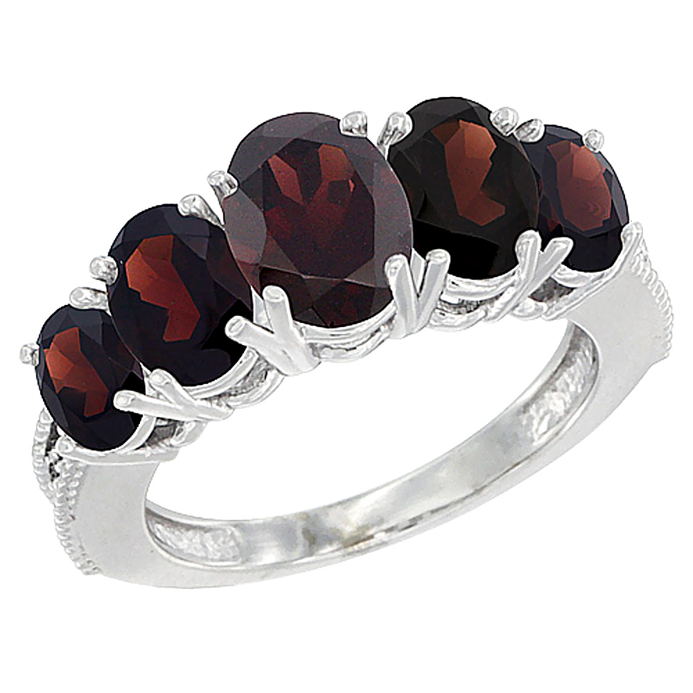 10K White Gold Diamond Natural Garnet Ring 5-stone Oval 8x6 Ctr,7x5,6x4 sides, sizes 5 - 10