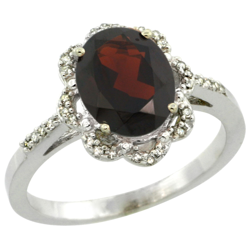 10K White Gold Diamond Halo Natural Garnet Engagement Ring Oval 9x7mm, sizes 5-10