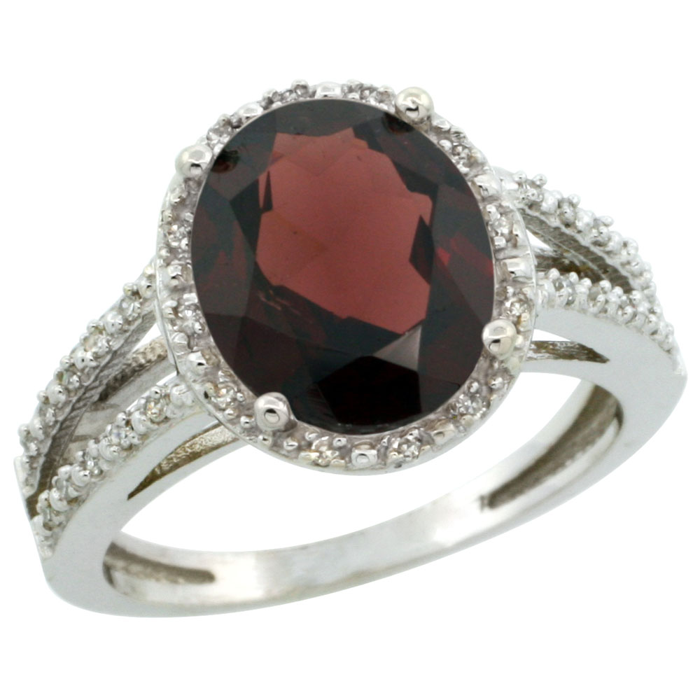 10K White Gold Diamond Natural Garnet Ring Oval 11x9mm, sizes 5-10