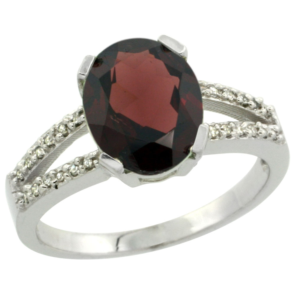 10K White Gold Diamond Natural Garnet Engagement Ring Oval 10x8mm, sizes 5-10