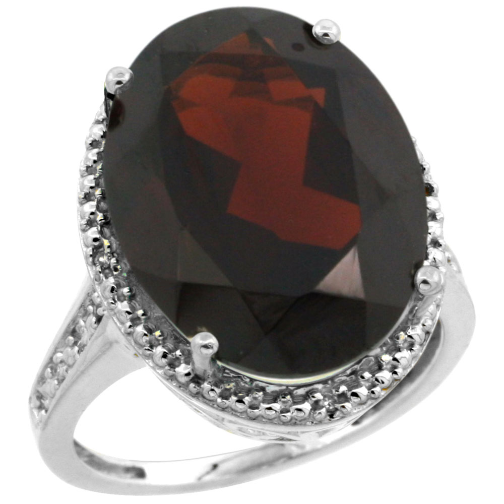 10K White Gold Diamond Natural Garnet Ring Oval 18x13mm, sizes 5-10