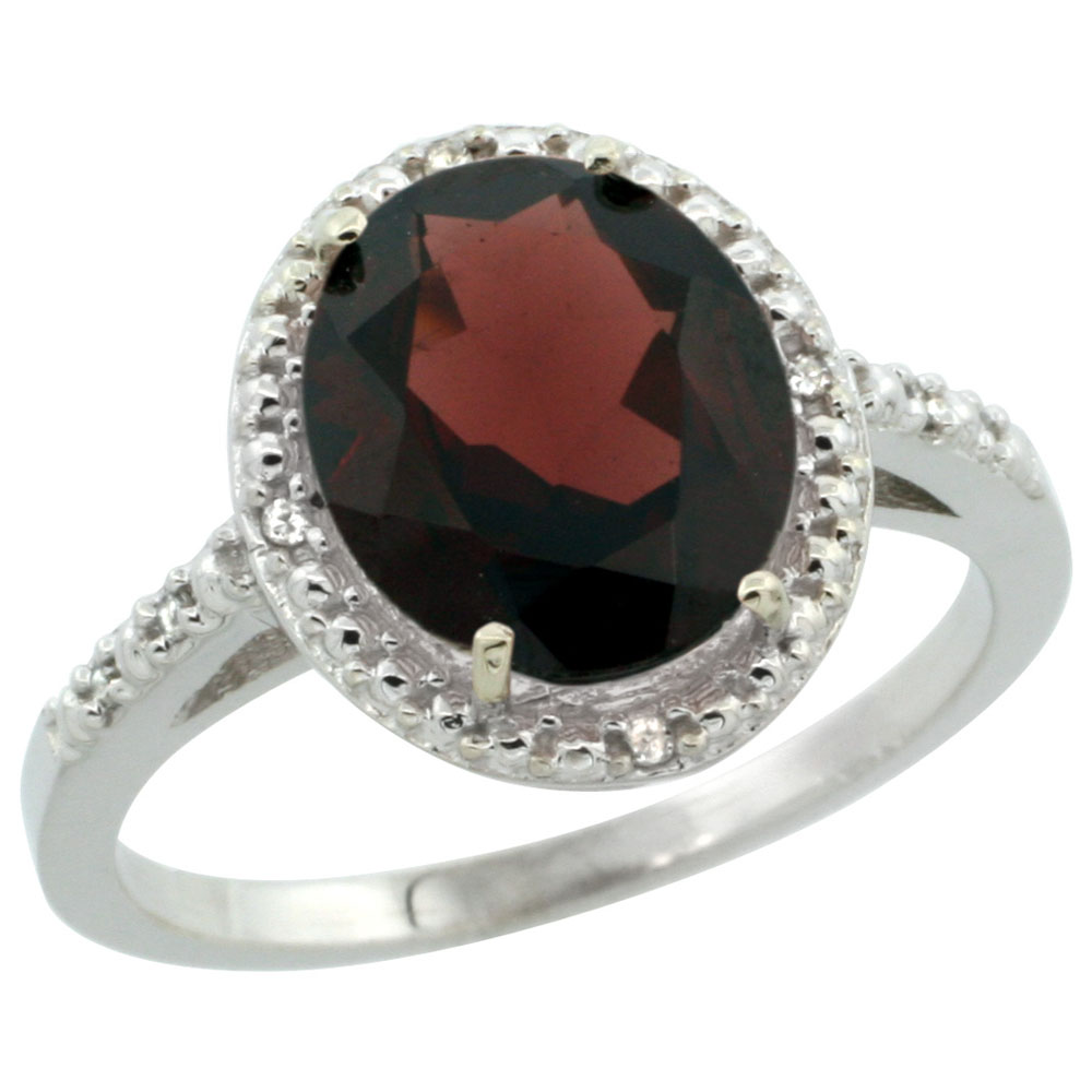 14K White Gold Diamond Natural Garnet Engagement Ring Oval 10x8mm, sizes 5-10