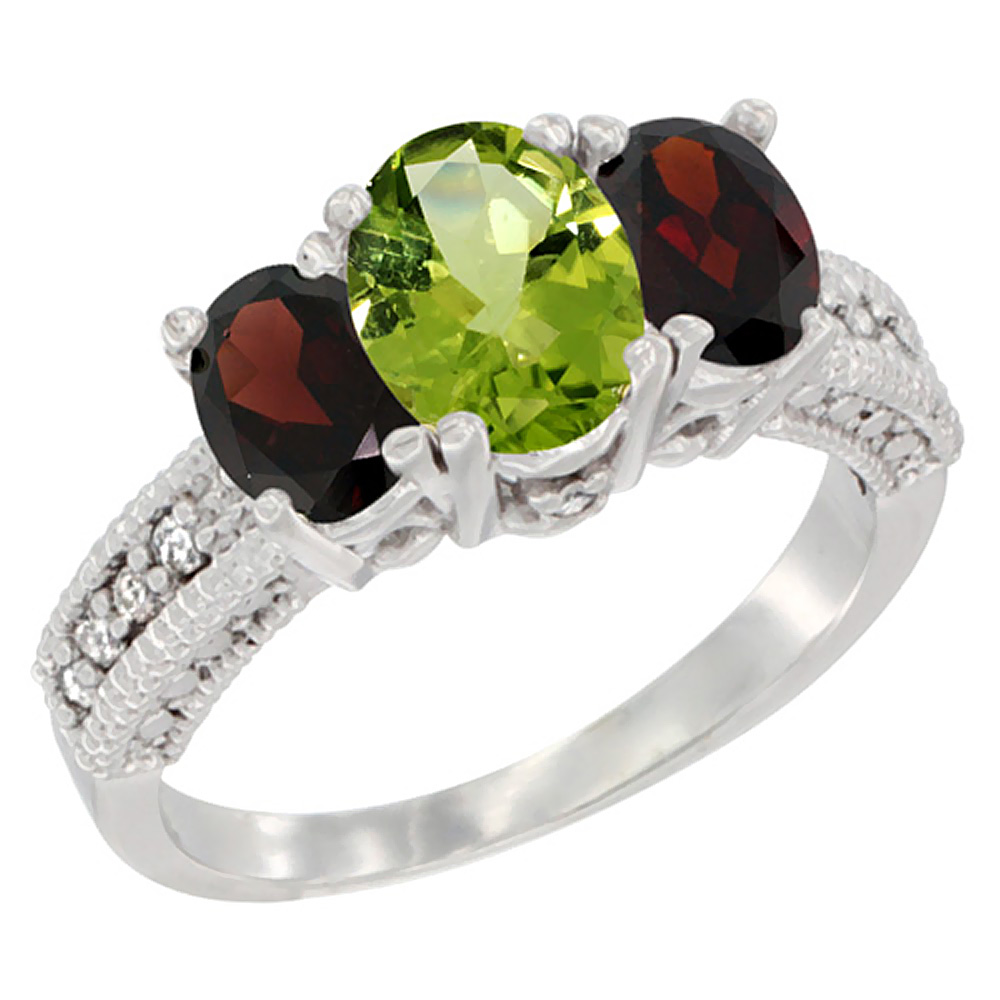 10K White Gold Diamond Natural Peridot Ring Oval 3-stone with Garnet, sizes 5 - 10