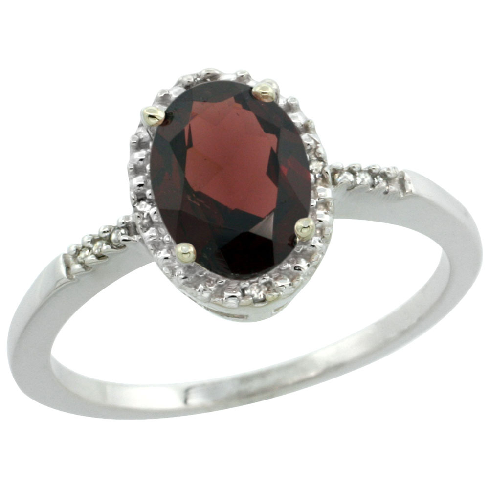 10K White Gold Diamond Natural Garnet Ring Oval 8x6mm, sizes 5-10