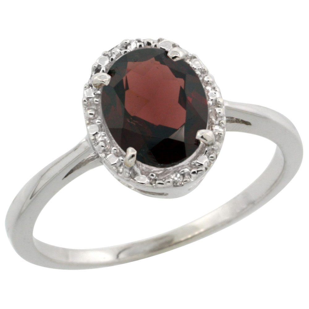 14K White Gold Natural Garnet Ring Oval 8x6 mm Diamond Halo, sizes 5-10