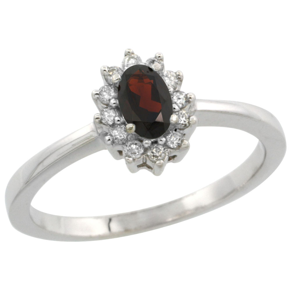10k White Gold Natural Garnet Ring Oval 5x3mm Diamond Halo, sizes 5-10