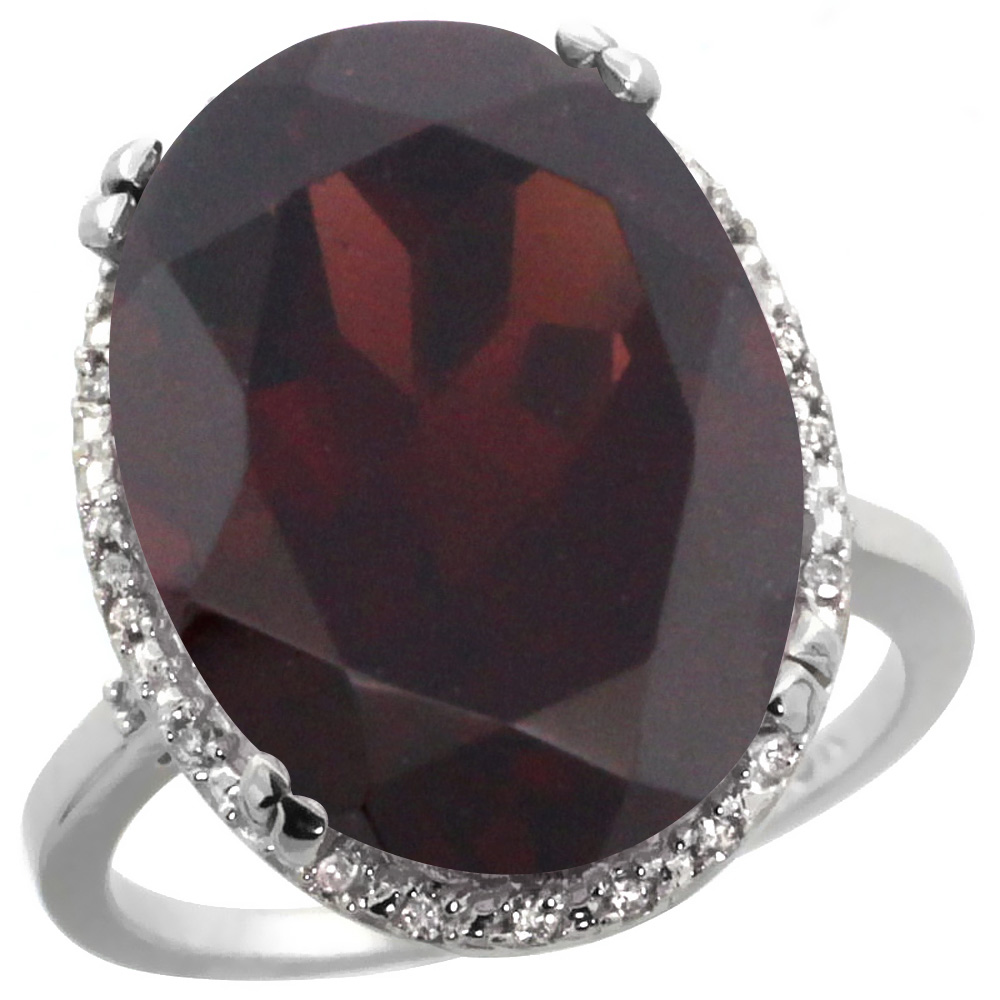 14K White Gold Natural Garnet Ring Large Oval 18x13mm Diamond Halo, sizes 5-10