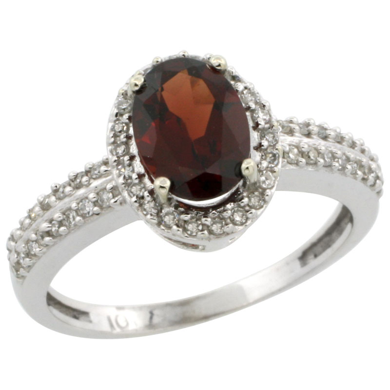 14K White Gold Natural Garnet Ring Oval 8x6mm Diamond Halo, sizes 5-10