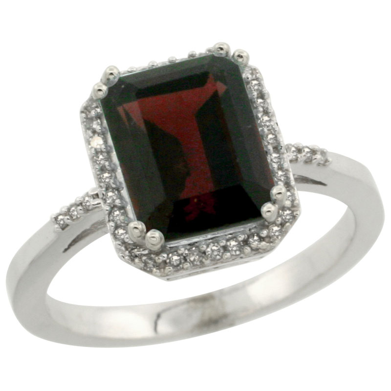 14K White Gold Diamond Natural Garnet Ring Emerald-cut 9x7mm, sizes 5-10