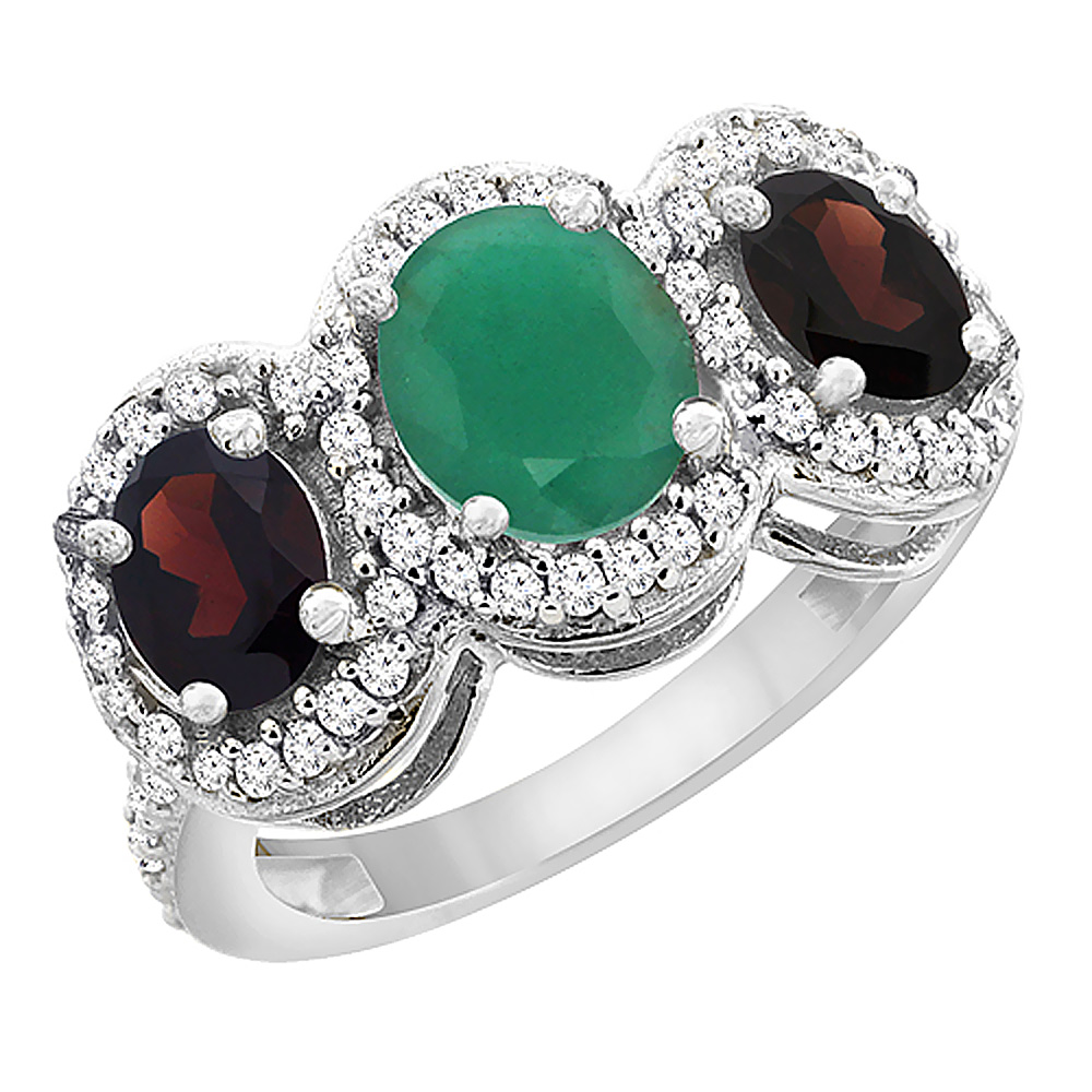 10K White Gold Natural Cabochon Emerald & Garnet 3-Stone Ring Oval Diamond Accent, sizes 5 - 10