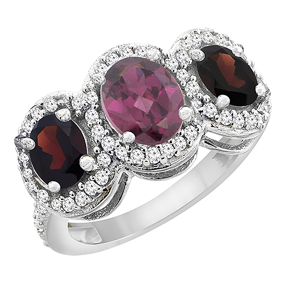 10K White Gold Natural Rhodolite & Garnet 3-Stone Ring Oval Diamond Accent, sizes 5 - 10