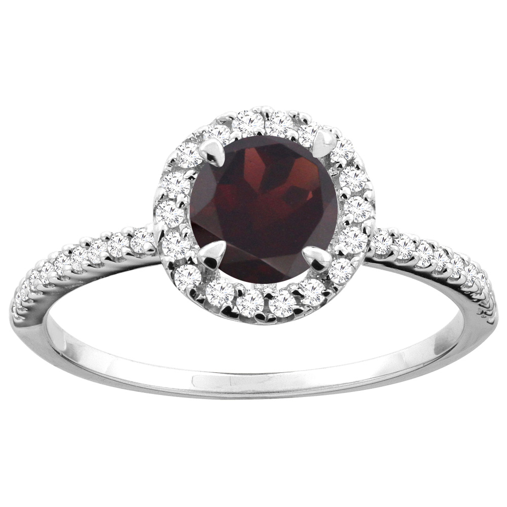 14K Gold Natural Garnet Ring Round 6mm Diamond Accents, sizes 5 - 10