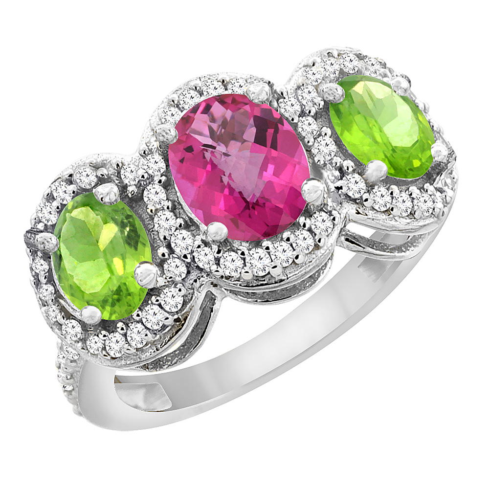 10K White Gold Natural Pink Sapphire & Peridot 3-Stone Ring Oval Diamond Accent, sizes 5 - 10