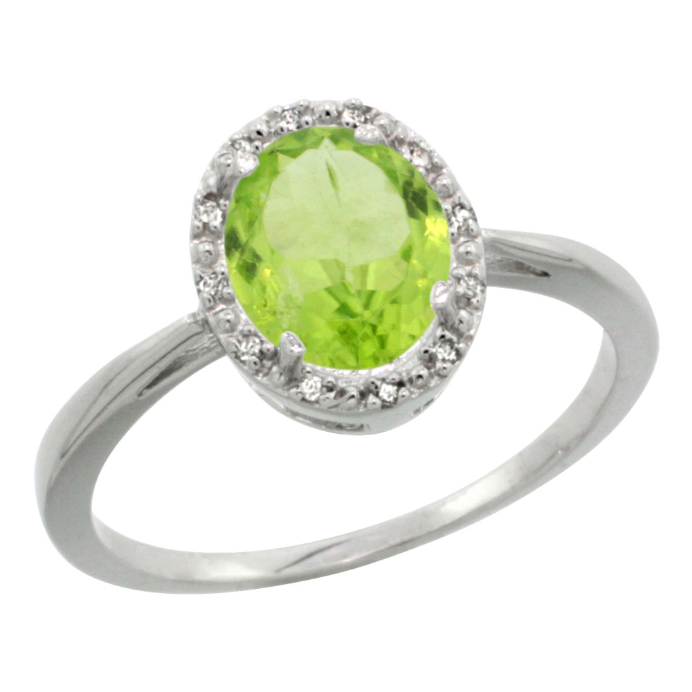 10K White Gold Natural Peridot Diamond Halo Ring Oval 8X6mm, sizes 5-10