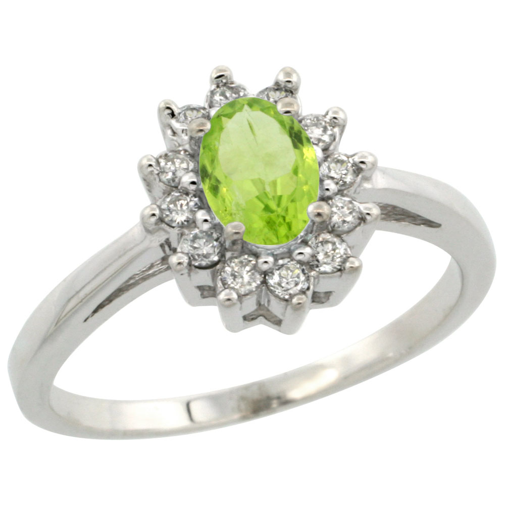 14K White Gold Natural Peridot Flower Diamond Halo Ring Oval 6x4 mm, sizes 5 10