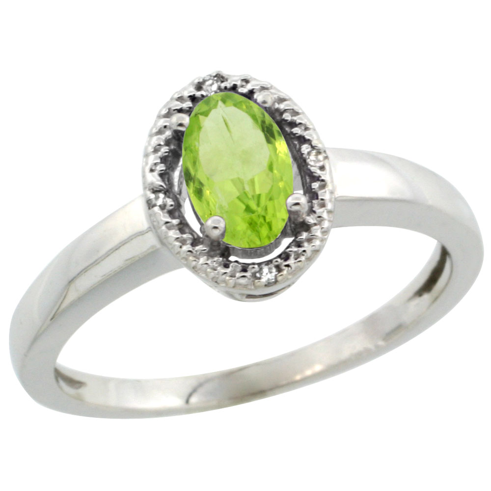 14K White Gold Diamond Halo Natural Peridot Engagement Ring Oval 6X4 mm, sizes 5-10