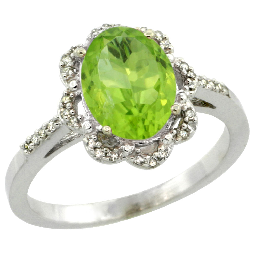 14K White Gold Diamond Halo Natural Peridot Engagement Ring Oval 9x7mm, sizes 5-10