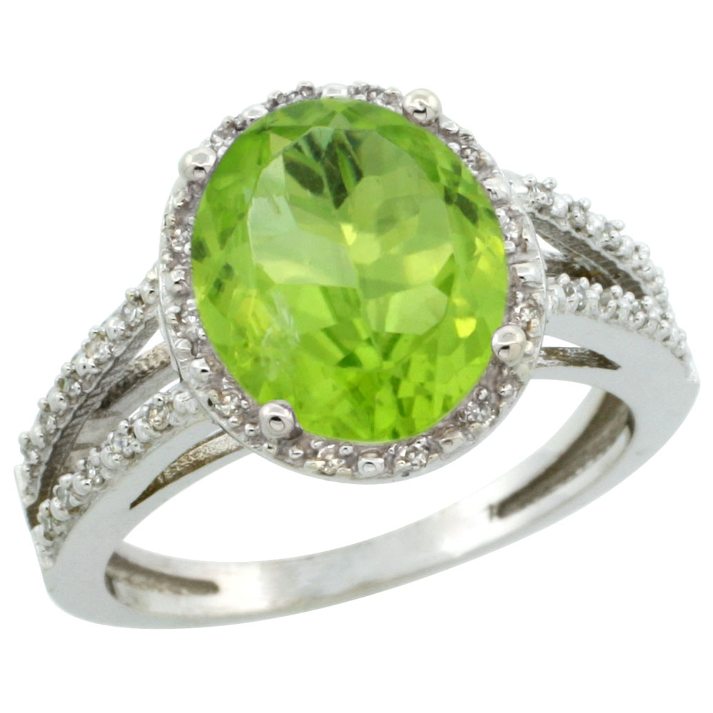 10K White Gold Diamond Natural Peridot Ring Oval 11x9mm, sizes 5-10