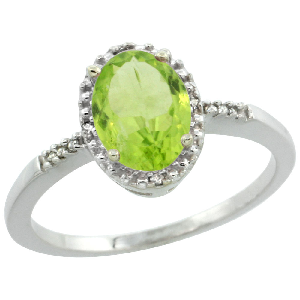 10K White Gold Diamond Natural Peridot Ring Oval 8x6mm, sizes 5-10