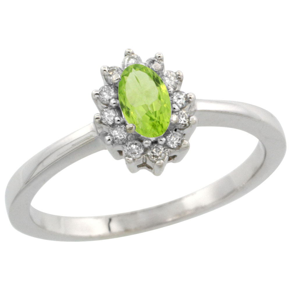 14K White Gold Natural Peridot Ring Oval 5x3mm Diamond Halo, sizes 5-10