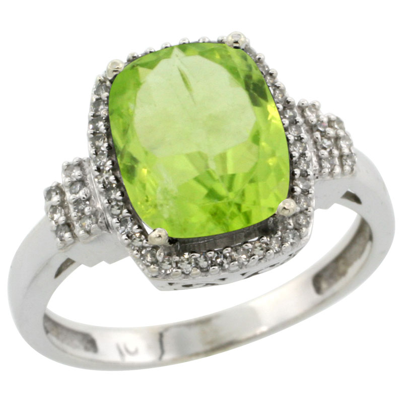 10k White Gold Natural Peridot Ring Cushion-cut 9x7mm Diamond Halo, sizes 5-10