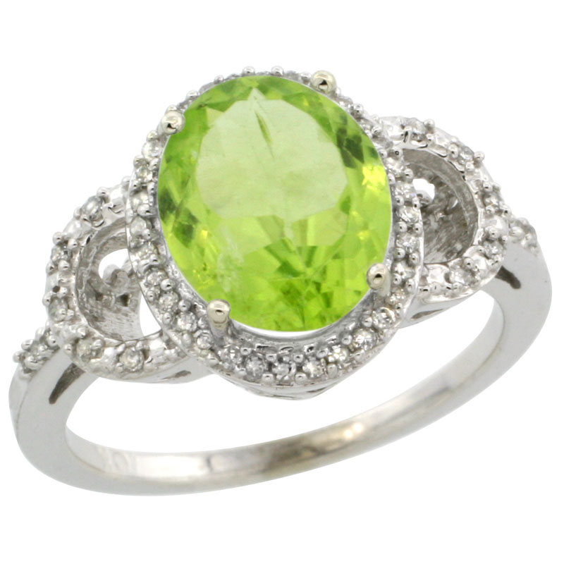 10K White Gold Diamond Natural Peridot Engagement Ring Oval 10x8mm, sizes 5-10