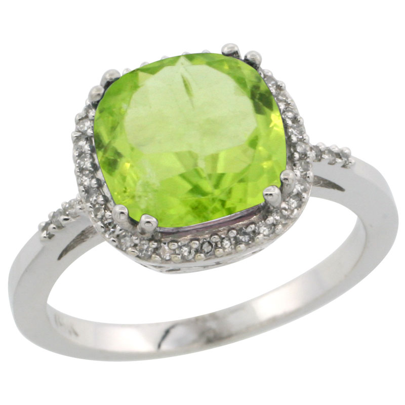 10K White Gold Diamond Natural Peridot Ring Cushion-cut 9x9mm, sizes 5-10