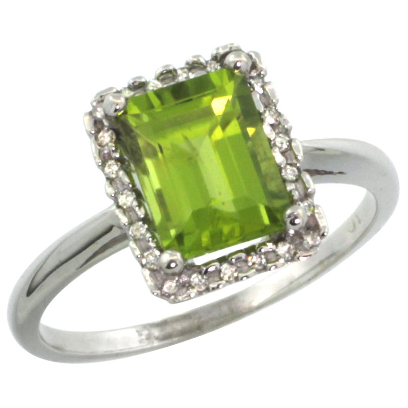 14K White Gold Diamond Natural Peridot Ring Emerald-cut 8x6mm, sizes 5-10