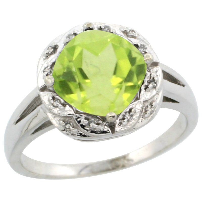 14K White Gold Natural Peridot Ring Cushion-cut 8x8mm Diamond Halo, sizes 5-10