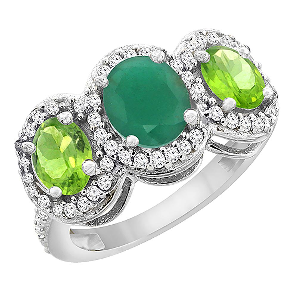 14K White Gold Natural Cabochon Emerald & Peridot 3-Stone Ring Oval Diamond Accent, sizes 5 - 10