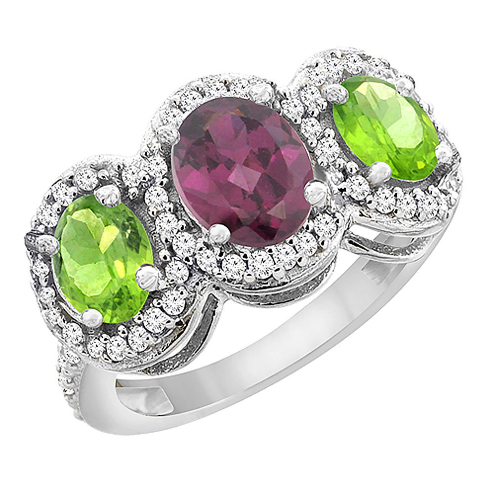 10K White Gold Natural Rhodolite & Peridot 3-Stone Ring Oval Diamond Accent, sizes 5 - 10