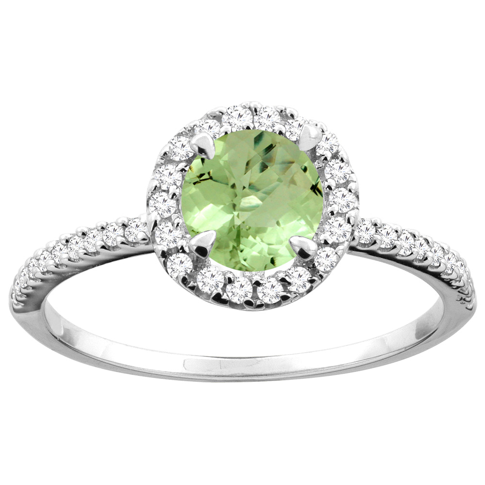 14K Gold Natural Peridot Ring Round 6mm Diamond Accents, sizes 5 - 10