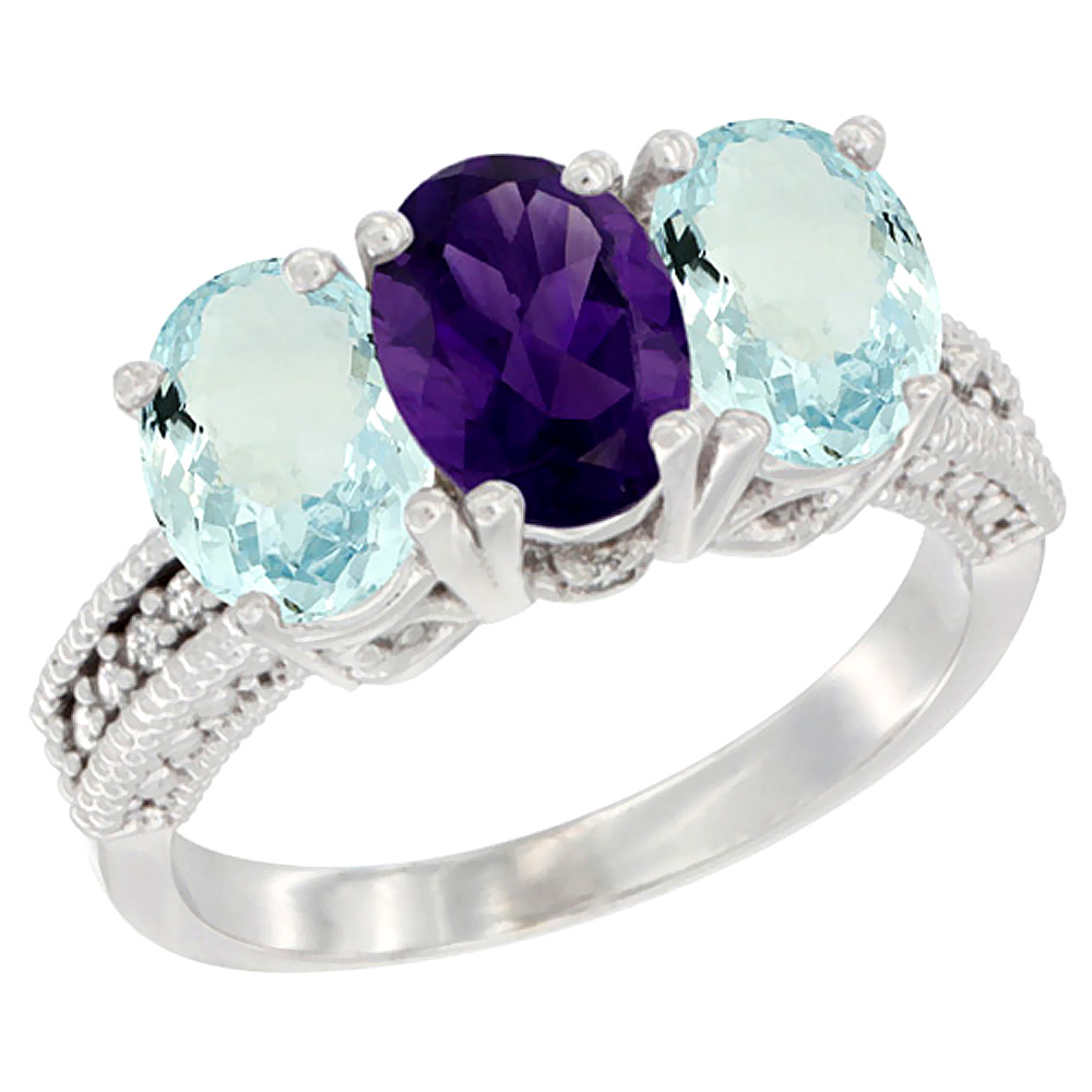 14K White Gold Natural Amethyst & Aquamarine Sides Ring 3-Stone Oval 7x5 mm Diamond Accent, sizes 5 - 10