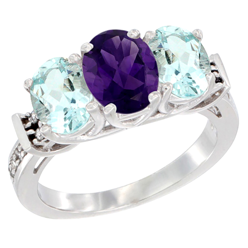 14K White Gold Natural Amethyst & Aquamarine Sides Ring 3-Stone Oval Diamond Accent, sizes 5 - 10