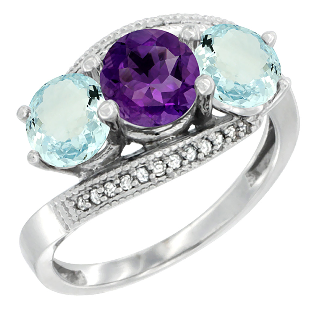 14K White Gold Natural Amethyst & Aquamarine Sides 3 stone Ring Round 6mm Diamond Accent, sizes 5 - 10