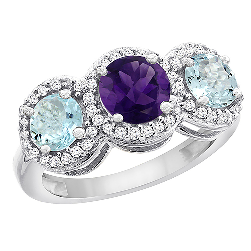 14K White Gold Natural Amethyst & Aquamarine Sides Round 3-stone Ring Diamond Accents, sizes 5 - 10