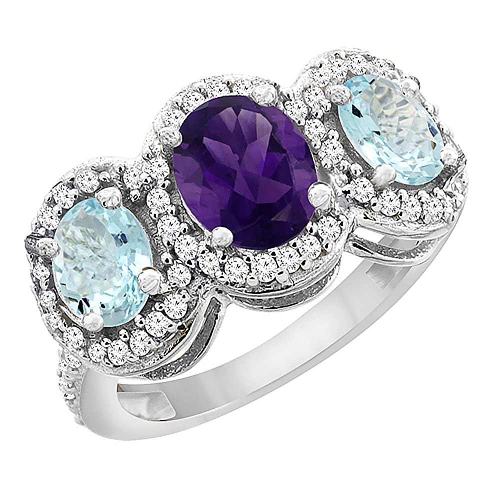 14K White Gold Natural Amethyst & Aquamarine 3-Stone Ring Oval Diamond Accent, sizes 5 - 10