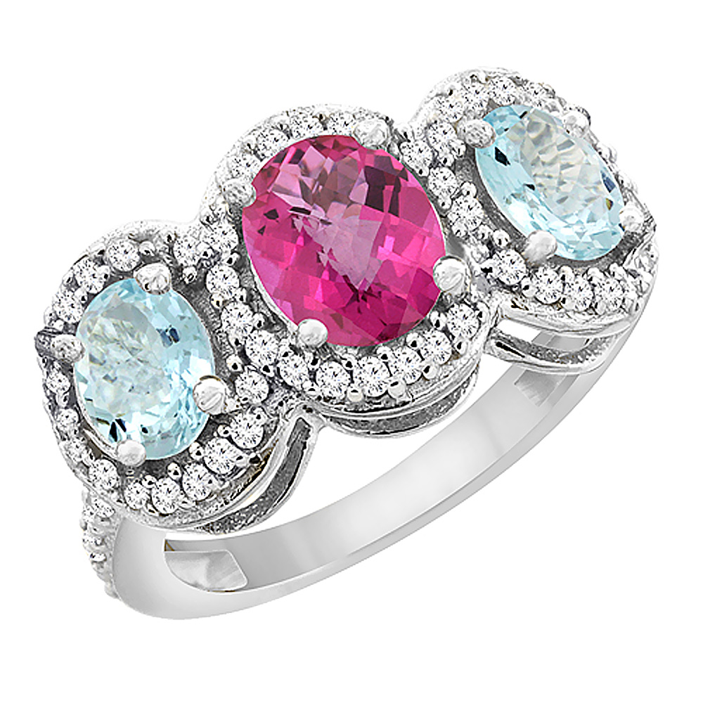 10K White Gold Natural Pink Sapphire & Aquamarine 3-Stone Ring Oval Diamond Accent, sizes 5 - 10