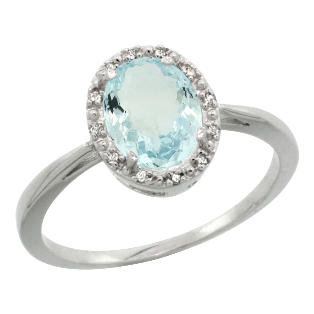 10K White Gold Natural Aquamarine Diamond Halo Ring Oval 8X6mm, sizes 5-10