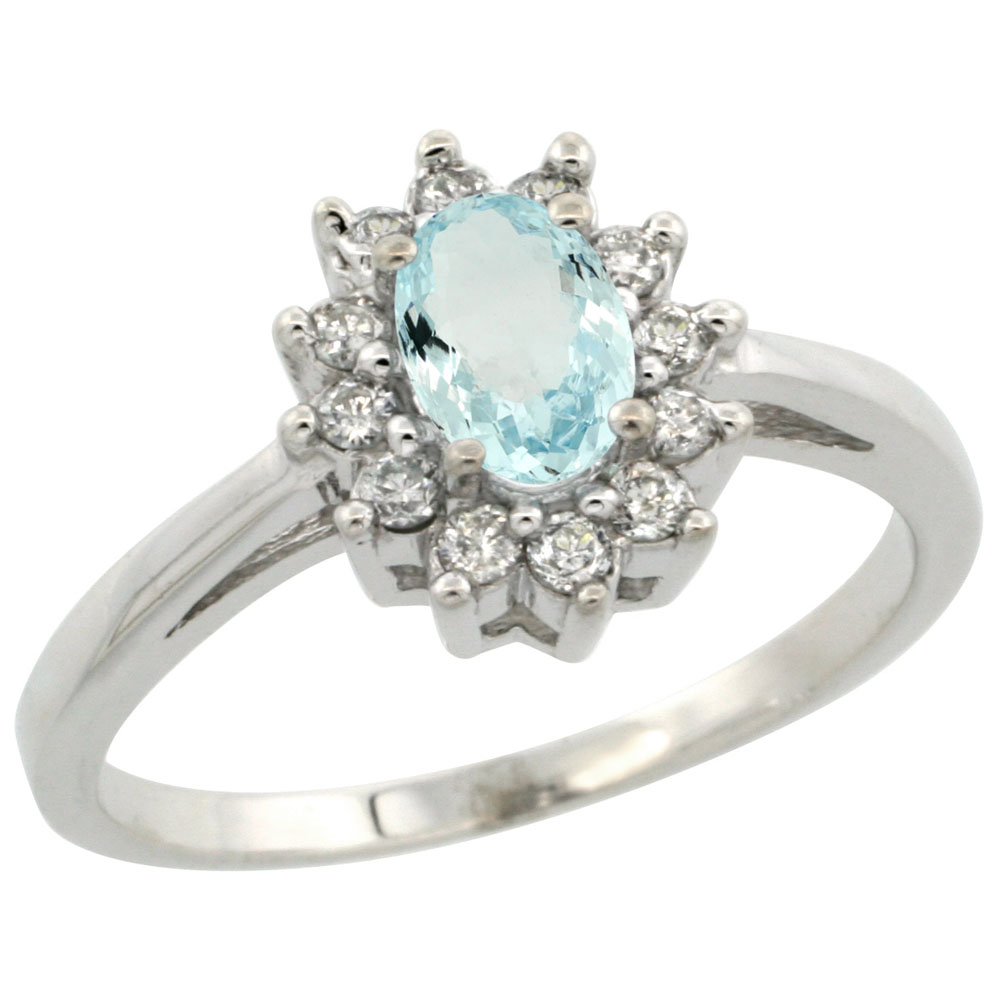 14K White Gold Natural Aquamarine Flower Diamond Halo Ring Oval 6x4 mm, sizes 5 10