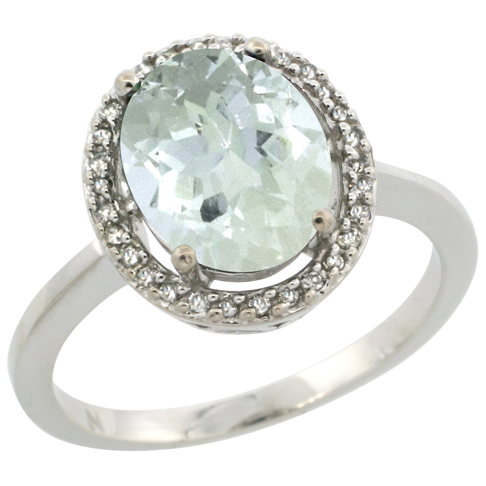 10K White Gold Diamond Halo Natural Aquamarine Engagement Ring Oval 10x8 mm, sizes 5-10