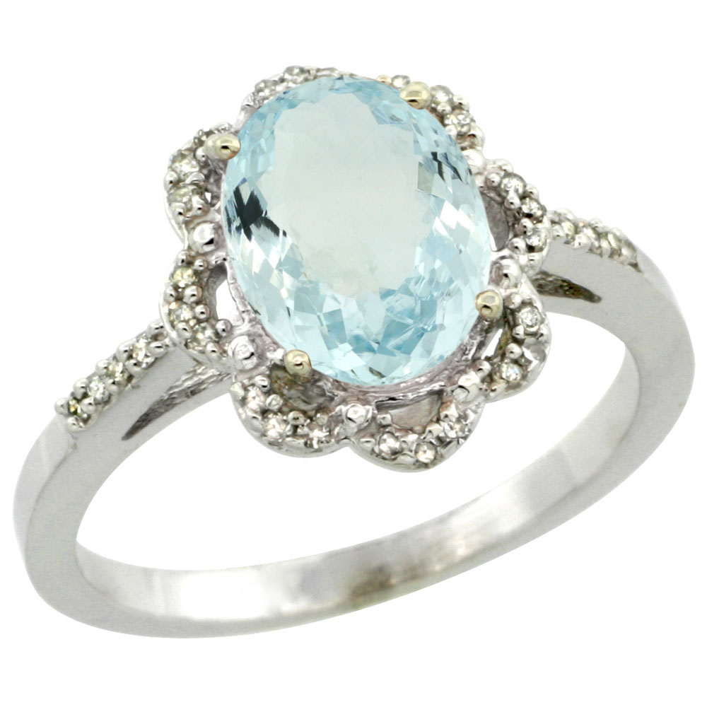 10K White Gold Diamond Halo Natural Aquamarine Engagement Ring Oval 9x7mm, sizes 5-10
