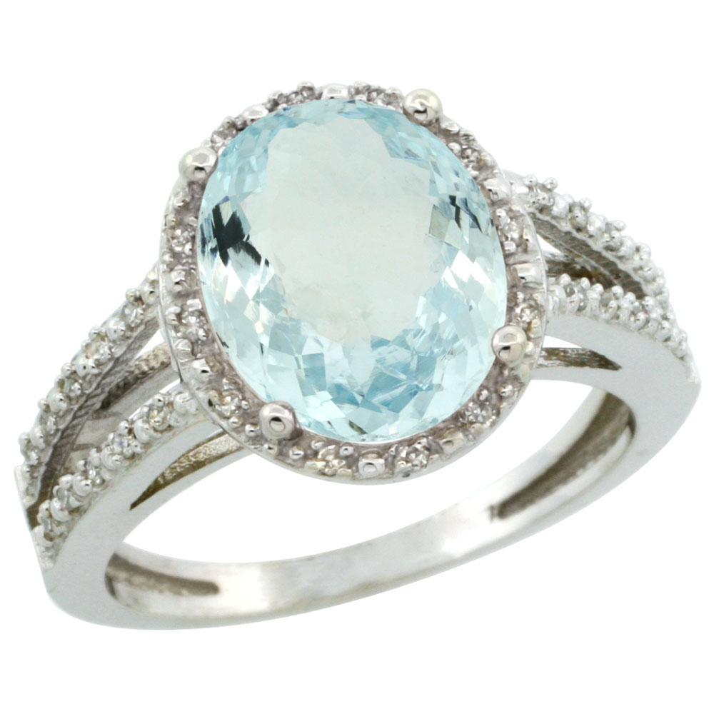 10K White Gold Diamond Natural Aquamarine Ring Oval 11x9mm, sizes 5-10