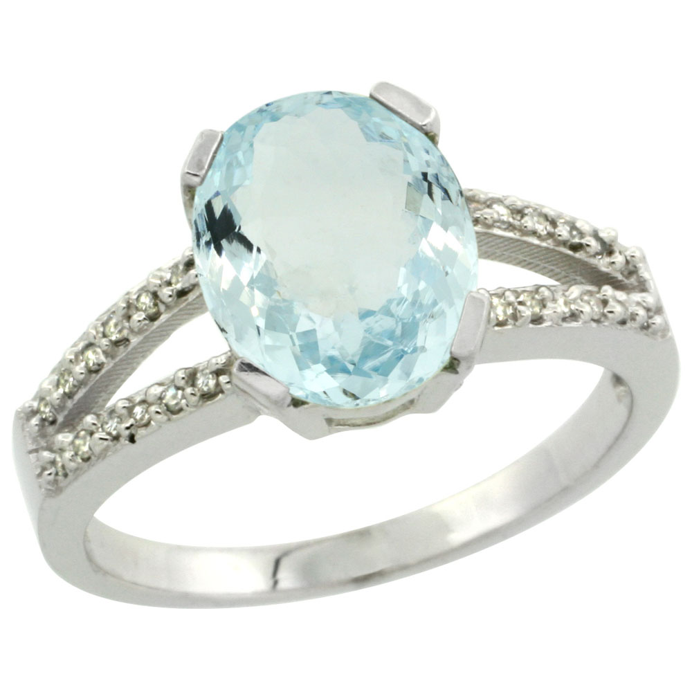 10K White Gold Diamond Natural Aquamarine Engagement Ring Oval 10x8mm, sizes 5-10