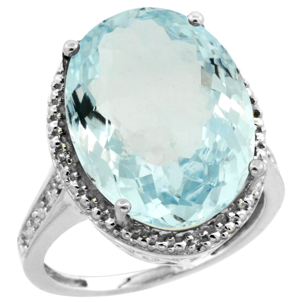 10K White Gold Diamond Natural Aquamarine Ring Oval 18x13mm, sizes 5-10