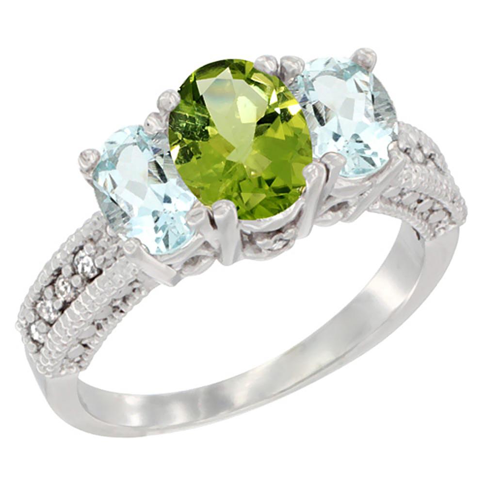 10K White Gold Diamond Natural Peridot Ring Oval 3-stone with Aquamarine Ring Oval 3-stone, sizes 5-10