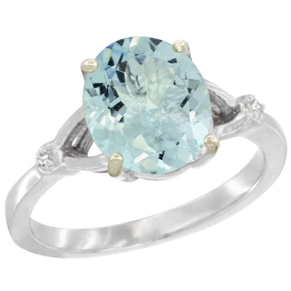 14K White Gold Diamond Natural Aquamarine Engagement Ring Oval 10x8mm, sizes 5-10