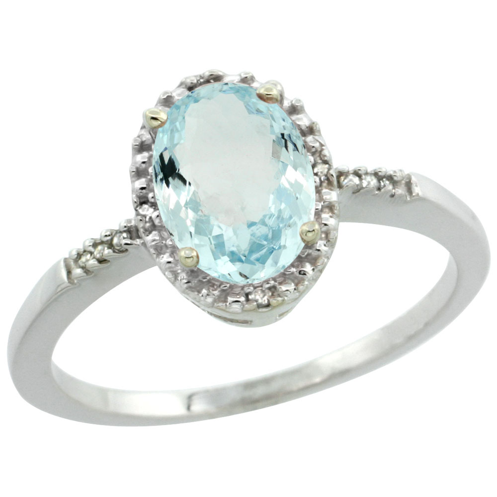 14K White Gold Diamond Natural Aquamarine Ring Oval 8x6mm, sizes 5-10