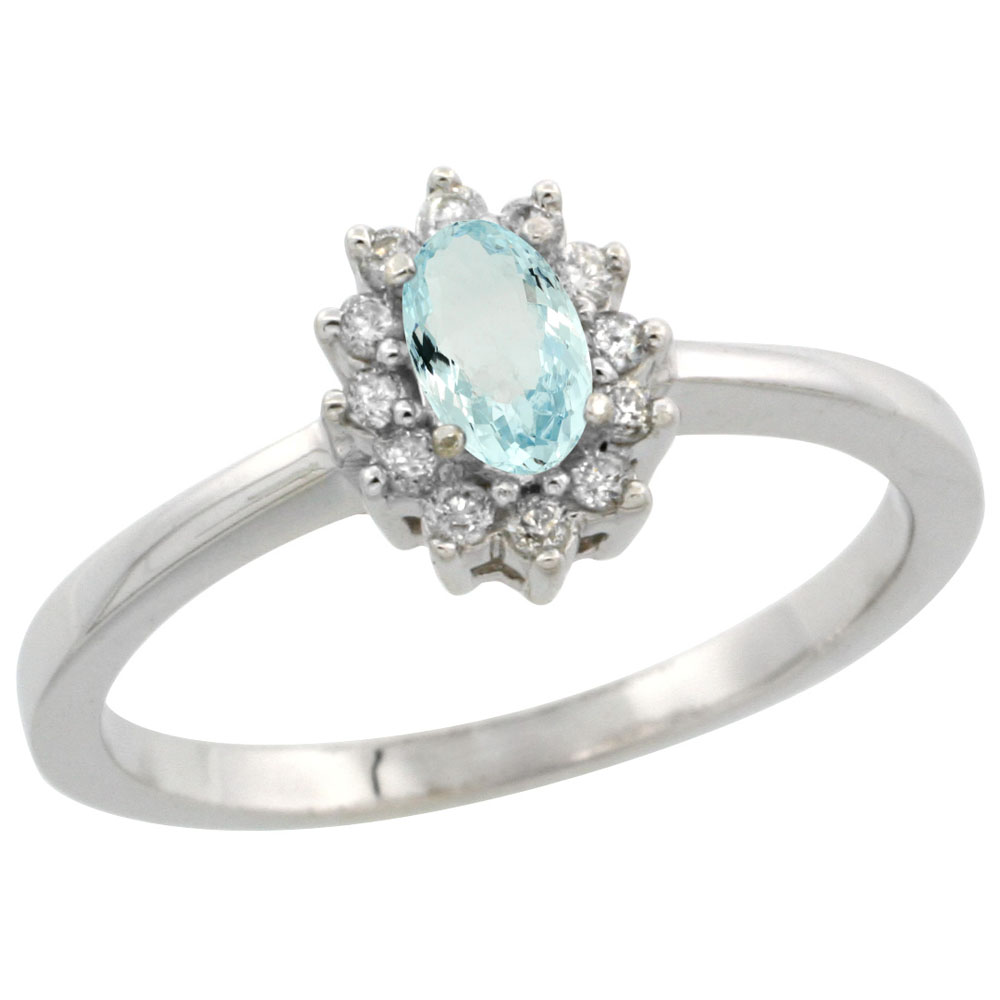 10k White Gold Natural Aquamarine Ring Oval 5x3mm Diamond Halo, sizes 5-10