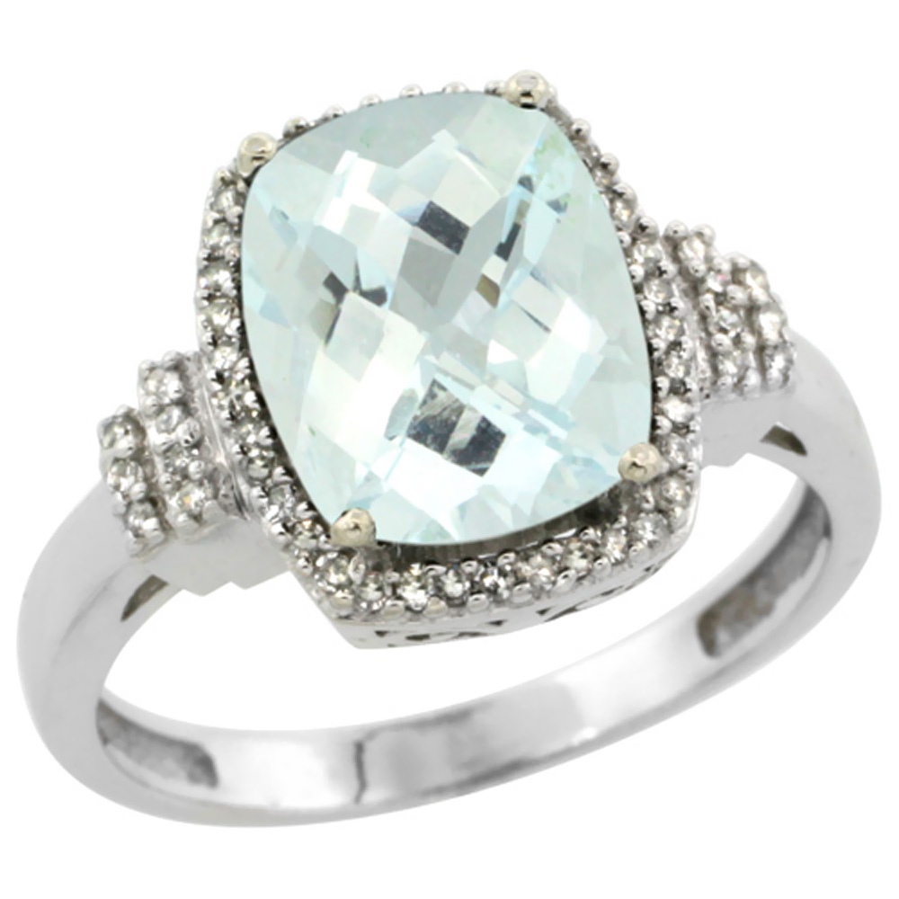 10k White Gold Natural Aquamarine Ring Cushion-cut 9x7mm Diamond Halo, sizes 5-10